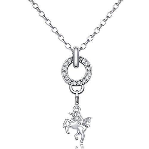 Damen Halskette Edelstahl 70 cm und Charm Anhänger Einhorn in Samtbeutel