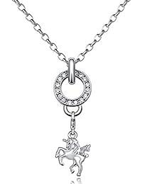 Morella Damen Charm Halskette Edelstahl 70 cm und Charm Anhänger Einhorn in Samtbeutel