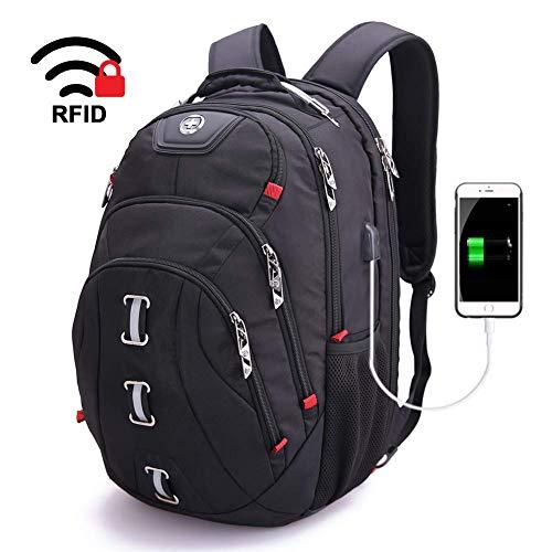 swissdigital 30L Laptop-Rucksäcke Dauerhafte Reise Trekkingrucksäcke Wasserfester Daypack TSA freundliche Business Tasche mit USB Ladeanschluss/RFID-Schutz für 15,6
