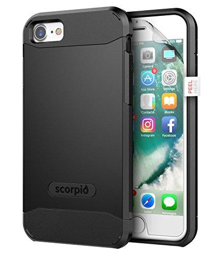 "iPhone 7 Case (Scorpio R5) Premium Protection Cover w/ Screen Guard - iPhone 7 4.7"" (Metallic Gray) Smooth Black"