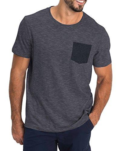 MODCHOK Herren T-Shirt Kurzarm Shirt Pockekt Tee Rundhals Ausschnitt Tops Regular Fit 1 Dunkelgrau(mit Pocket) Small -
