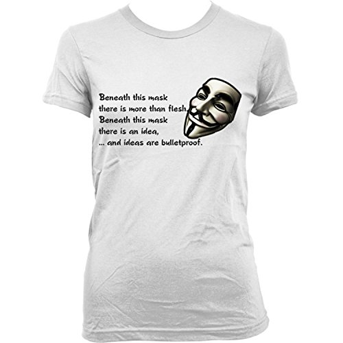 9092Lw V For Vendetta Quote Donna T-Shirt Guy Fawkes Anonymous Revolution Mask(X-SmallWhite)