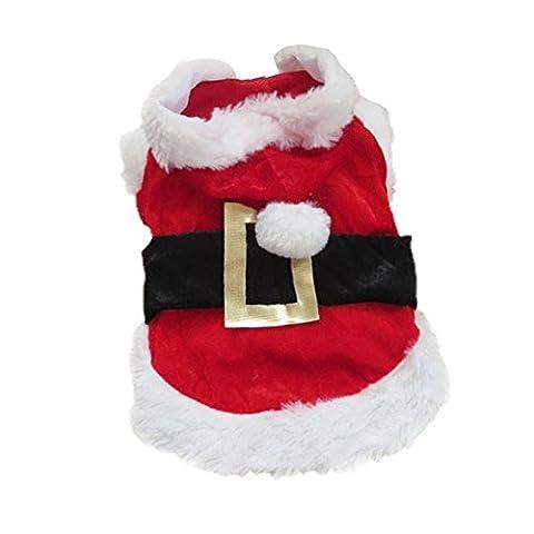 Hrph Costume Déguisement Père Noël Chien Vêtements Manteau d'Hiver Chiot