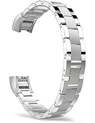 MoKo Fitbit Alta Correa - Universal Reemplazo SmartWatch Band de Reloj de Acero Inoxidable / Hebilla Doblable Accesorios para Fitbit Alta Smart Fitness Tracker, ( NO INCLUYE El RELOJ ), Plata