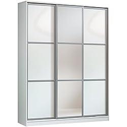 Armario ropero con espejos color blanco brillo de 3 puertas correderas, estantes regulables, molduras decorativas para dormitorio. 200cm alto x 150cm ancho x 62cm fondo