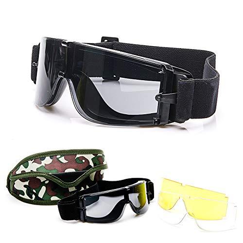 Yiph-Sunglass Sonnenbrillen Mode Neue Feld explosionsgeschützte Anti-Schock CS Taktische Brille Motorradbrille (Color : Black)