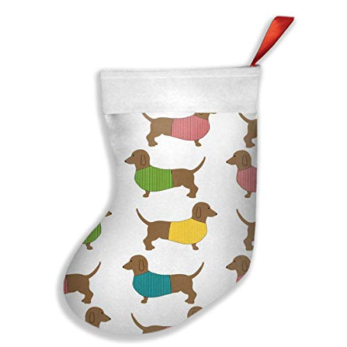 Not afraid Dachshund Dog Cute Wallpaper Christmas Stocking Fireplace Decor with Gift Holder for Party Family Holiday Xmas