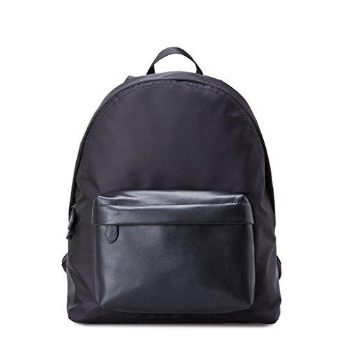 mochila-bag-en-piel-y-nylon-con-bolsillo-adelante-de-gear-band-negro