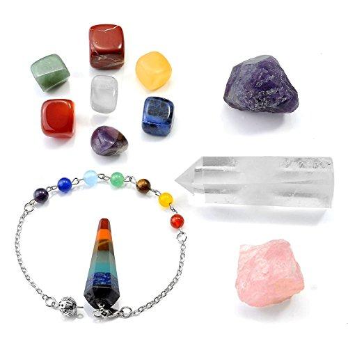 Crystaltears set chakra healing crystal naturale - 11 chakra cristalloterapia, selenite/cristallo bianco, gemme e pietre, bracciale e pendolo