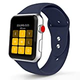 iYou Sport Band for Apple Watch Band, Soft Silicone Replacement Wristband Classic Sport Strap for iWatch 2017 Apple Watch Series 3/2/1, Edition, Nike+, All Models (42MM M/L, Midnight Blue)