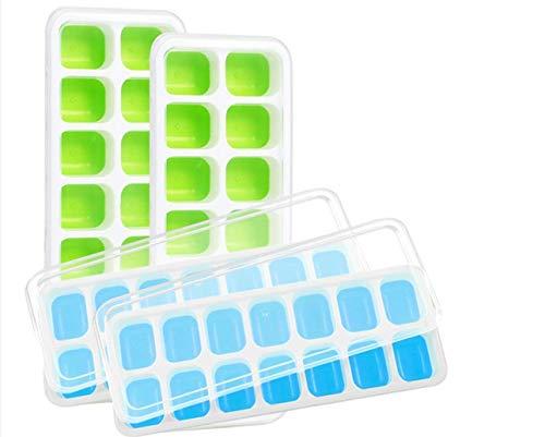 HUYOZOY Silikon Eiswürfelschalen 4er Pack mit abnehmbaren Deckeln, 56 Eiswürfelformen Easy-Release Stapelbares, von der LFGB/FDA zugelassenes BPA-freies Eiswürfelschalenset