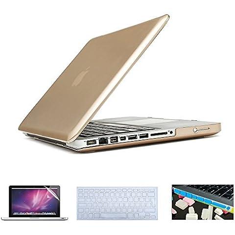 i-Buy Caso de Shell duro + cubierta del teclado + Protector de pantalla + enchufe del polvo para Apple Macbook Pro 15 pulgadas con DVD Driver(Modelo A1286)- Oro