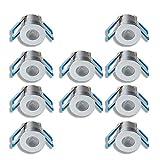 KÖNIG LED Mini Einbaustrahler 1W Dimmbar mit Fernbedienung, IP65 Wassergeschützt, kleine Deckenspots für Innen- und Außenbeleuchtung (Silber, 10er-Set)