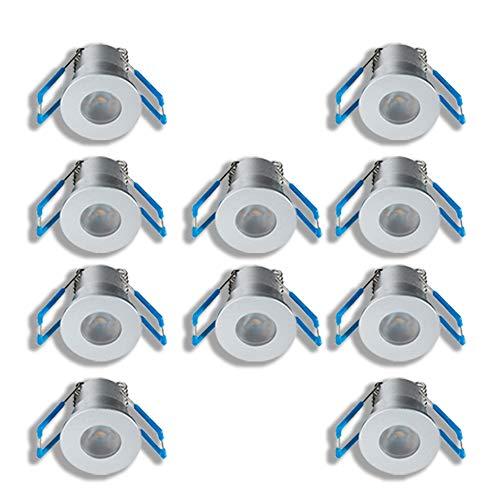KÖNIG LED Mini Einbaustrahler 1W Dimmbar mit Fernbedienung, IP65 Wassergeschützt, kleine Decken-Spots für Innen- und Außen, Wintergarten, Überdachungen (10er-Set)
