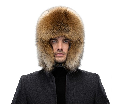 Genuine Women Men Raccoon Fur Russian Winter Bomber Hats with Genuine