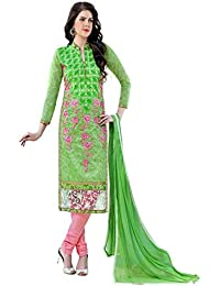 Jheenu Women's Green Glass Cotton Unstitched Dress Materials
