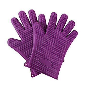 Italish 1 Pair Silicone Oven Gloves - Heat Resistant Grill BBQ Gloves with Fingers Waterproof Non Slip Oven Mitts Kitchen Cooking Gloves - Multi Color