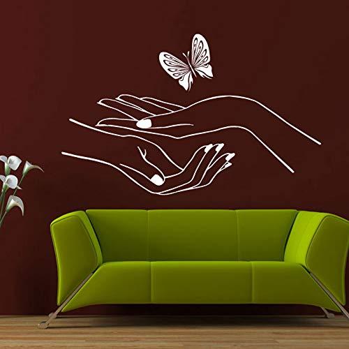 ganlanshu Wandaufkleber Vinyl Aufkleber Schlafzimmer schöne Maniküre Nagelstudio Nagel Schmetterling Hand 102cmx63cm