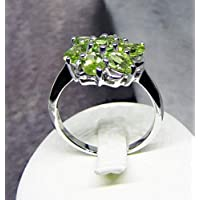 Anello con pietre verdi naturali - Gioielli in argento sterling 925 rodiato e peridoto - Anello floreale con pietre preziose