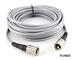 CablesOnline 25ft RG-8/U Mini Coax UHF PL-259 Male/Male Grey Antenna Cable (R-U8025)