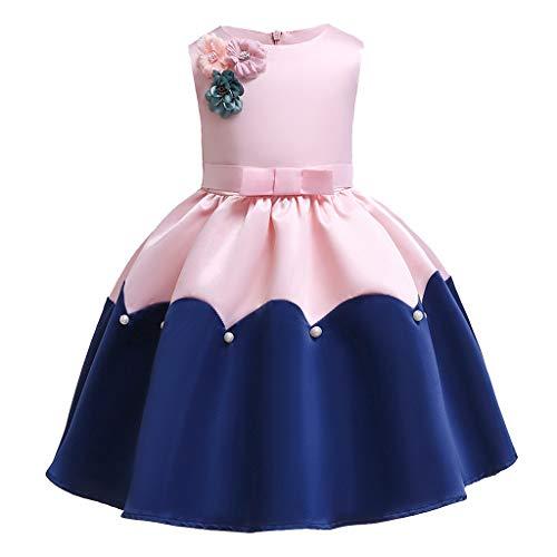 SANFASHION Mädchen Bowknot Prinzessin Rock 3D Blumen Tutu Urlaub Prinzessin Kleider Sommer Partykleid für Baby Kleinkinder ()
