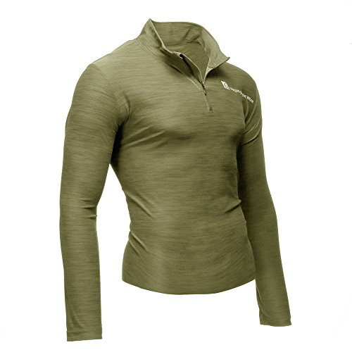 Fusion Vs Wear Herren Mikrofaser 1/4 Zip Slim Fit Kompression Long Sleeve Athletic Sport Performance Training Thermal Baselayer Tactical Rollkragen Shirt Made in USA groß, Herren, Hautfarben, Large -