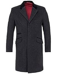& pour homme en laine de cachemire mélangée avec bordure en velours luxueux Manteau formelle poils longs