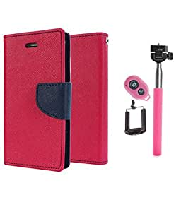 Aart Fancy Diary Card Wallet Flip Case Back Cover For Mircomax Q372 - (Pink) +Remote Aux Wired Fashionable Selfie Stick Compatible for all Mobiles Phones By Aart Store