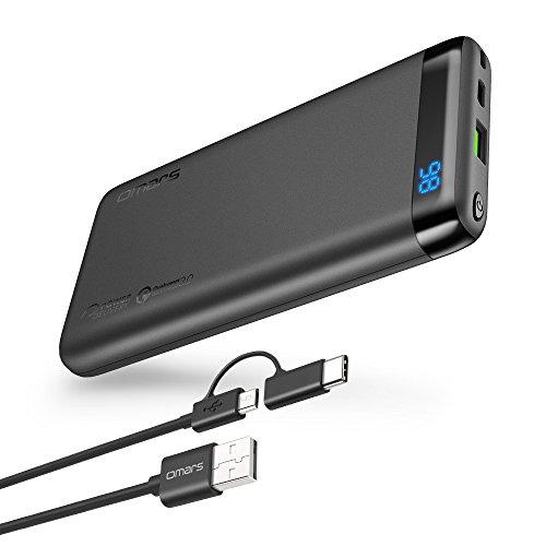 Omars Powerbank 10000mAh Handy USB C Quick Charge PD(Input/Output bis 3A), USB QC 3.0 18W Ausgang, Display Digital Anzeige, Schnellladefunktion für iPhone X 8 Samsung Galaxy S8 S7 Switch 10000 Grau