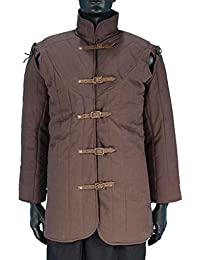 Medieval Clothing - Gambeson - Padded LARP Jacket - Removable Sleeves - Brown
