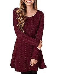 bd830f354268 ORANDESIGNE Winterkleider Damen Pulloverkleid Strickkleid Lang Pullover Kleid  Winter Cocktailkleider Schöne Kleider Pulli Sweatshirt