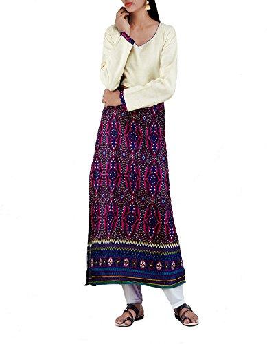 Unnati Silks Women Sloka Weaves Cream And Pink Khadi Cotton Kurta