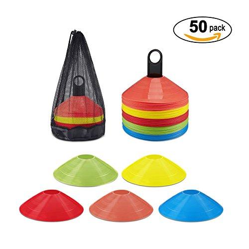 Markierungshütchen von KUYOU - 50 Stücke Sport Hütchen Set zur Markierung | Markierungsteller für das Training im Fussball, Hockey, Handball oder Trainingshilfe für Koordination