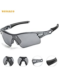 WONGKUO Polarized Outdoor Sports Glasses Men Women Cycling Sunglasses With 5 Interchangeable Lenses 100%UV Protection...