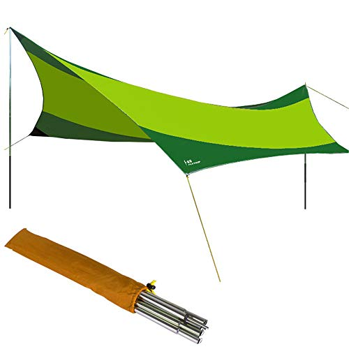 LIUSIYU Camping Zelt Tarps 5,5 mx 5,6 m, Wasserdichte Hängematte Regen Fliegen Zelt Plane, tragbare leichte Camping Shelter für Schnee Sonnenschutz für Camping Outdoor-Reisen,Green