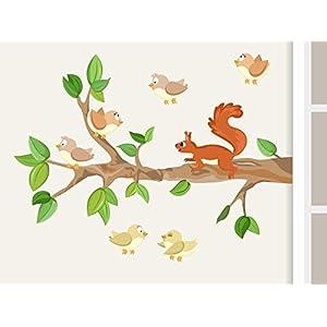 """Wandtattoo""""Ast I. mit Baby-Vögeln und Eichhörnchen"""" Waldtiere Wandaufkleber für Kinderzimmer"""