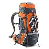 HENDTOR Camping Professionnel Sac à Dos Sac à Dos en Plein air Cadre Interne Alpinisme Sac pour Hommes et Femmes 70L Orange