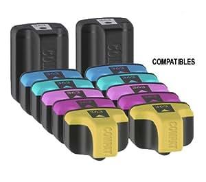 12x Haute Capacité Cartouches d'encre Compatibles pour Imprimante HP Photosmart C7200 - Cyan / Light Cyan / Jaune / Magenta / Light Magenta / Noir