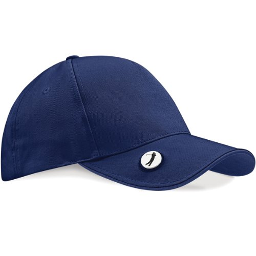Beechfield Pro-style golf cap with ball marker in Navy -