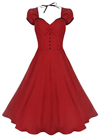 Lindy Bop 'Bella' Classy Vintage 1950's Rockabilly Style Swing Party Jive Dress (24, Red)