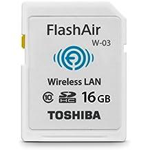 Toshiba FlashAir W-03 - Tarjeta de memoria SDHC de 16 GB (Class 10, Velocidad mínima de escritura de 10 MB/s), blanco