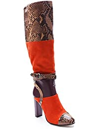 L@YC Women 'S Long Boots Suede Snake Skin Fight High - Heeled Boots With Thick Pointed