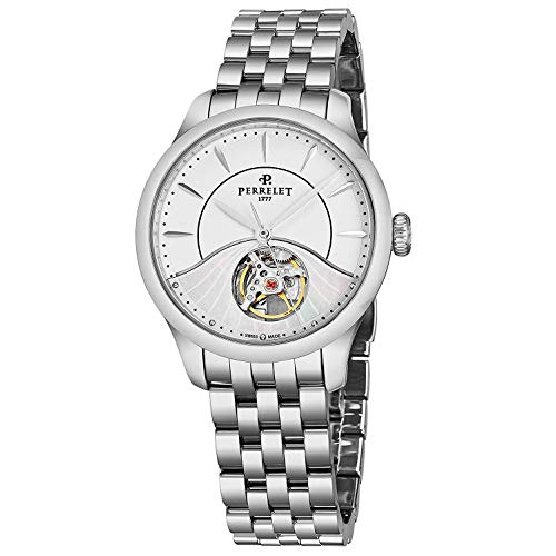 Perrelet Women's 35mm Steel Bracelet & Case Automatic White Dial Watch A2067-9