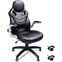 Songmics Silla giratoria de oficina Silla de escritorio Racing negro Recubrimiento de PU Reposabrazos ajustable