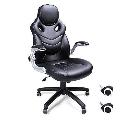 Songmics Fauteuil de bureau Chaise pour ordinateur réglable simili cuir OBG61B