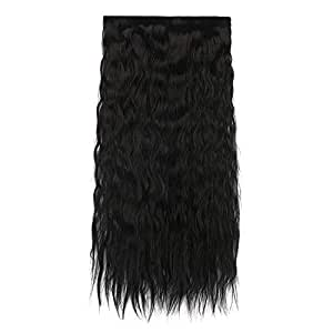 RAAYA Curly wavy Synthetic Fiber Silky Hair Extensions for Women and Girls Wedding Party Wear Extension 20-24 Inches Pack of 1 (M-3)