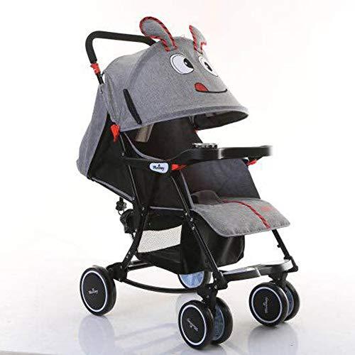 *AZW Sonnenschutz-Kinderwagen-Tragetasche und Kinderwagen, Leichter Klapp-Buggy bis 25 kg mit Liegeposition, Sonnenschutz-Vierrad-Kinderwagen,Gray*