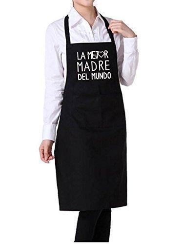 Delantal ajustable personalizado para MAMA con frase ' LA MEJOR MADRE DEL MUNDO'.Puedes elegir entre ROJO, GRANATE, AZUL MARINO, NEGRO Y VAQUERO