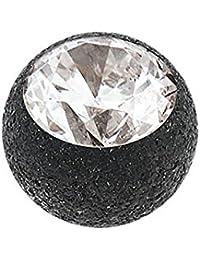 Stahl Schraubkugel Diamantoptik mit Kristall schwarz 1,2mm Kugel 4mm