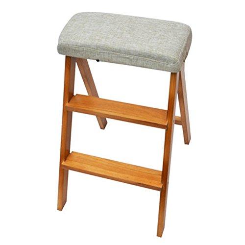 CHAOXIANG Klappleiter Hocker Multifunktion Dual-Use Tragbar 3 Schritte Mit Baumwollkissen Stuhl Birke 3 Farben  Höhe 63cm (Farbe : Orange - solid Color Cushion) (Bücherregal Birke 3 Regal)
